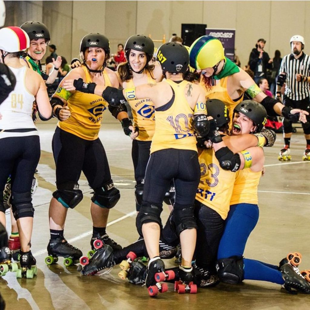Epic shot of Team Brazil rollerderbybrasil at 2014 Roller Derbyhellip