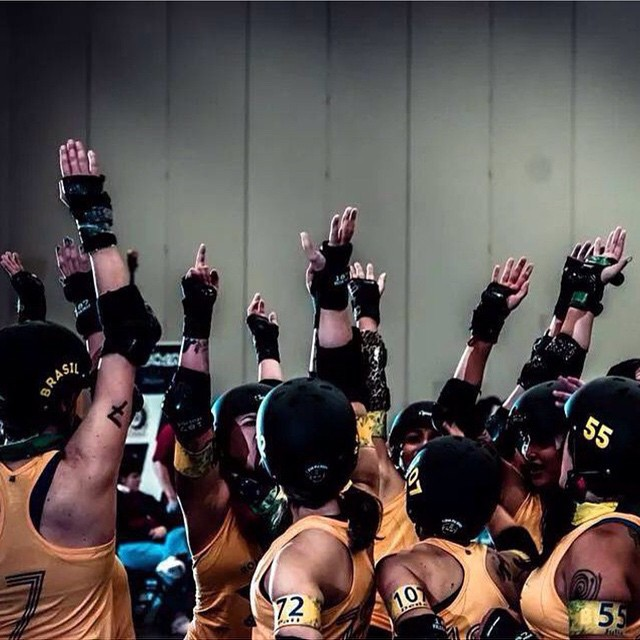 Great shot of Team Brazil [@rollerderbybrasil] by the talented Sean Hale aka Hale Yeah [@seanhaleyeah] at the 2014 Roller Derby World Cup #rdwc #rdwc2014 #rollerderby
