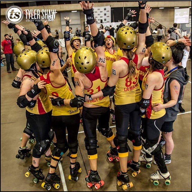 Team Spain at the 2014 Roller Derby World Cup. Photo by Tyler Shaw #tylershaw #rollerderbyworldcup #rollerderby ?