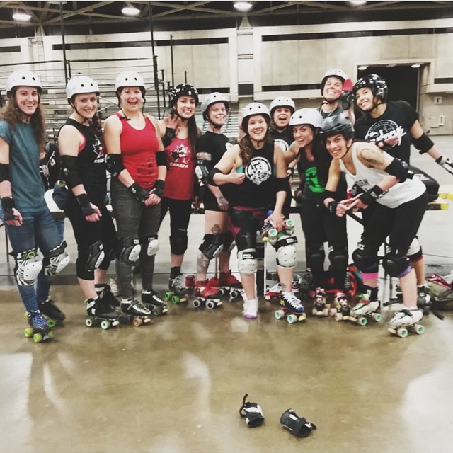Team Canada getting some track time before the 2014 Roller Derby World Cup ♥️